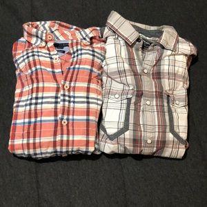Plaid button down shirt bundle L